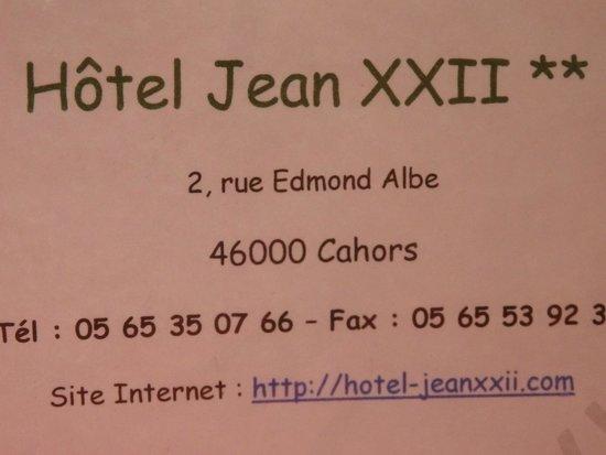 Hotel Jean XXII : coordonnées de l'hôtel