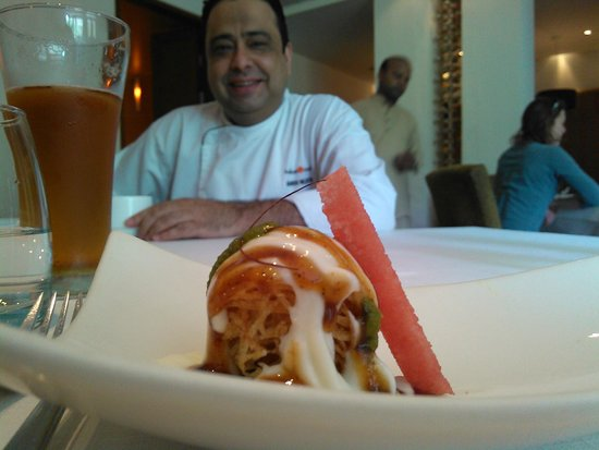 Indian Accent: Chef Manish with one of his creations - aloo chaat will never be the same