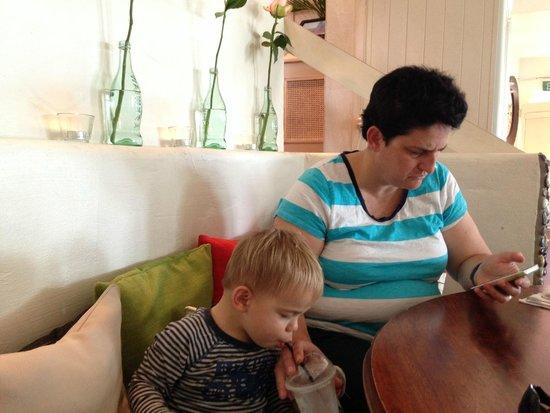 Bumbles: our son enjoying the kids milkshake