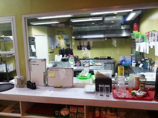 Edgy Veggy Vegetarian Cafe: The kitchen is large, clean and tidy