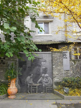 Kuanzhai Ancient Street of Qing Dynasty: Pictures of olden China line the walls of some alleys.