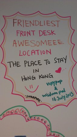 Hop Inn: our graffiti!! obviously no creative talent in drawing so we left only words.