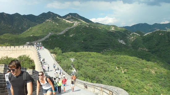 The Great Wall at Badaling: Difficult path - part of incline and railing shown here.