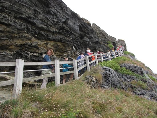 Tintagel Castle: steep steps up to the castle