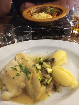 Restaurant l'Atelier de Nicolas : Plats du jour filet de flétan et saute d agneau oriental Délicieux