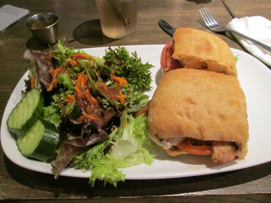 Lake Country Grill: My grilled chicken sandwich with salad.