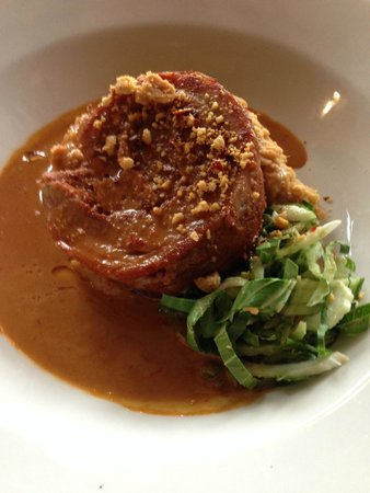 The Bell at Stow: Pork Belly with crushed chilli and braised lentil mash with bok choy!