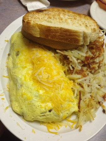 Baker's Bakery & Cafe: Meat omelet with sourdough toast
