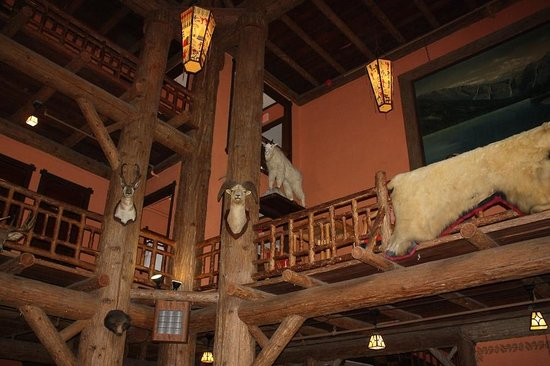 Lake McDonald Lodge lobby decor