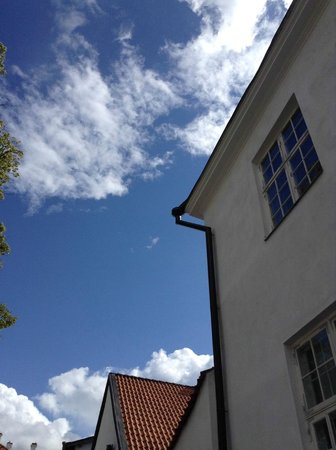 Tallinn Free Tour : One of the buildings and the sky on our way