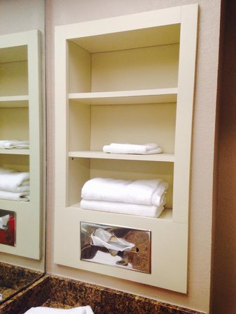 Tahitian Inn Hotel Cafe & Spa: Bathroom- nice for storage .