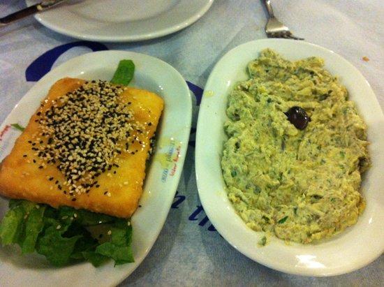 Meze2: Feta saganaki and eggplant salad