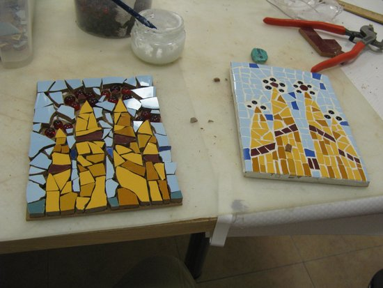 Mosaiccos: my amateur version (ungrouted) vs. Angelika's beautiful artwork!