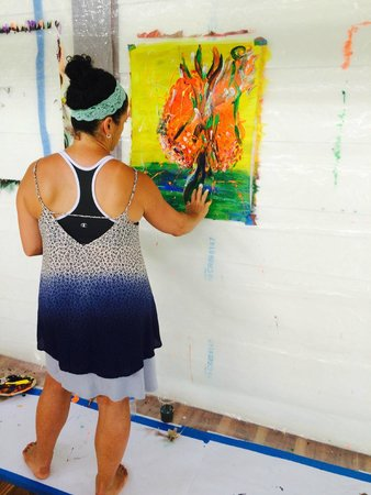 Blue Osa Yoga Retreat and Spa: Expressive Intuitive Painting in the Yoga Pavillion overlooking the ocean