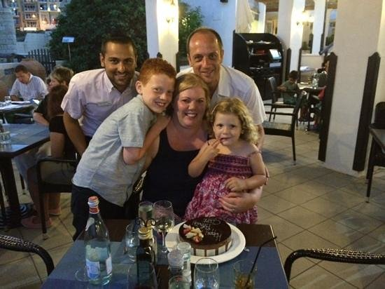 Palio's Restaurant at The Westin Dragonara Resort Malta: Birthday surprise from James - Thank you