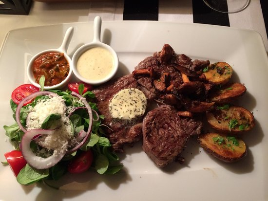 Zielona Kuchnia: Ribeye steak - potatoes - mushrooms - salad
