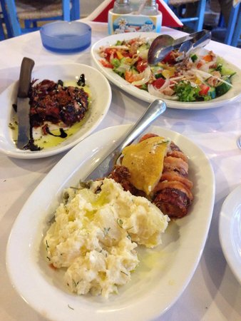 Nikos the Fisherman: Octopus, calamari, and fresh tuna in the Greek salad!