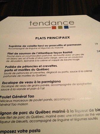 Delta Saguenay Hotel : menu