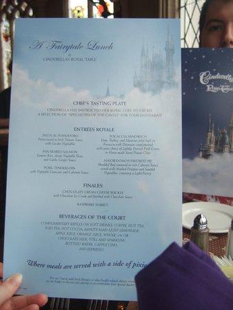 Cinderella's Royal Table: The menu