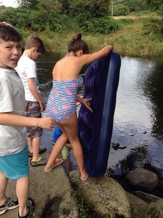 Riverside Camping: Kids pinching the air beds!