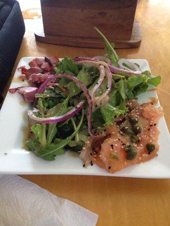 Bagel shop: Great marlin salmon salad and churrasco bagel