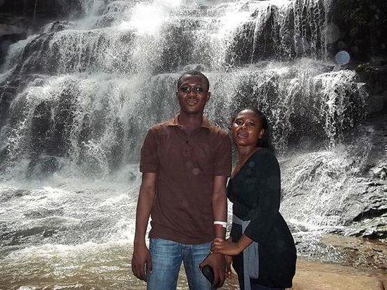 Kintampo Falls: me and Zelia at the Waterfall