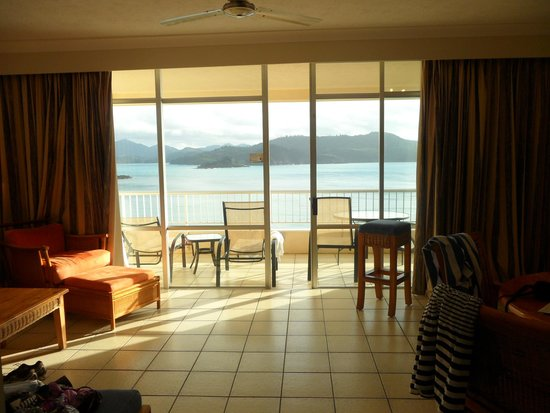 Whitsunday Apartments Hamilton Island: View from inside the apartment looking out to Balcony