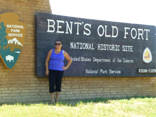 Bent's Old Fort National Historic Site: Me in front of one of the signs leaving hiking trail