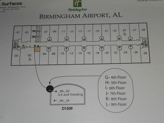 Holiday Inn Birmingham-Airport: Floor plan of Holiday Inn BHM Airport