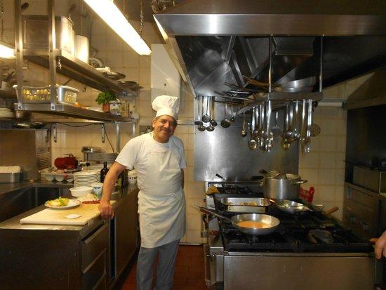 Hostaria Dei Bastioni: The cook in his spotless kitchen!