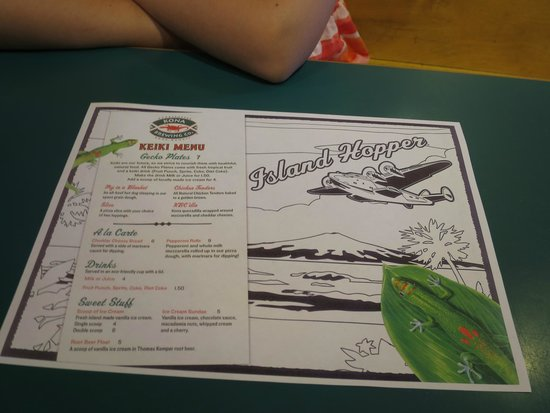 Kids Menu Kona Brewing Company