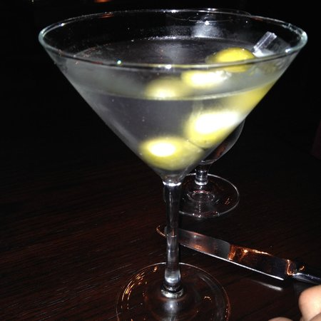 zyr martini neat with blue cheese stuffed olives picture of red