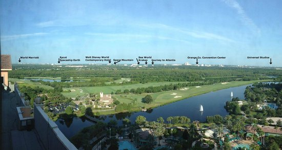 JW Marriott Orlando, Grande Lakes : A panoramic view of the theme park areas.