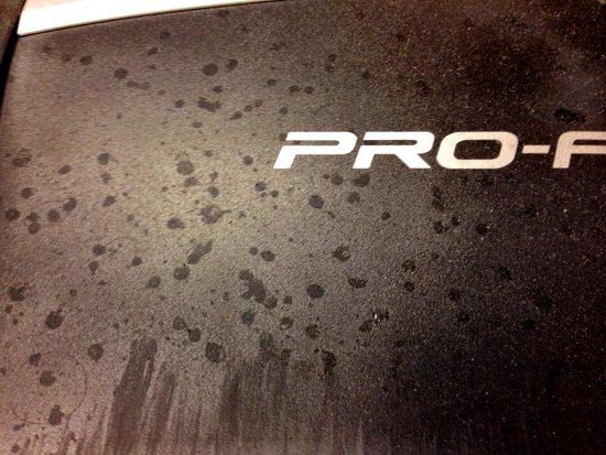 Dirty treadmill in the fitness room. Baker City Oregon Geiser Grand Hotel. Photo by Terry Hunefe