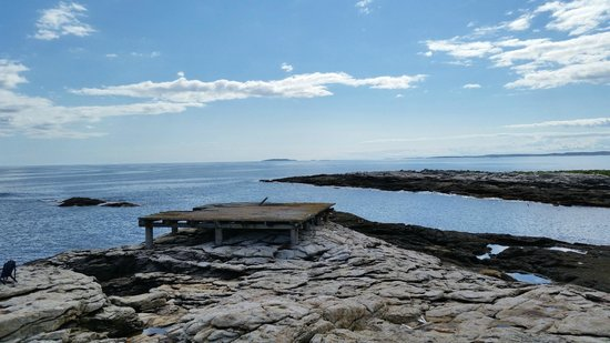 The Inn at Cuckolds Lighthouse: Atlantic view with Coast Guard helicopter pad