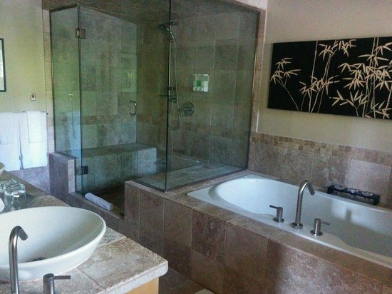 Shades of Jade Inn and Spa : beautiful bathroom with steam shower and bubble tub