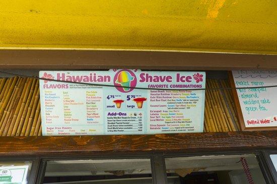 Ululani's Hawaiian Shave Ice: Menu Board