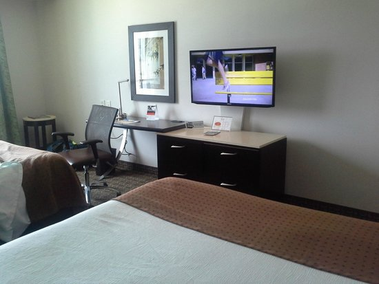 Holiday Inn Charleston Historic Downtown : desk and television