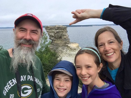 Miners Castle Rock: We Four SkrentWoods MIners Castle selfie Pictured Rocks NLS August 2014 IMG_7141