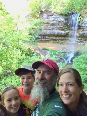Munising Falls: We Four SkrentWoods Musining Falls west stairs access selfie PRNLS August 2014 IMG_7159