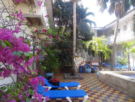 Media Luna Hostel : patio interior