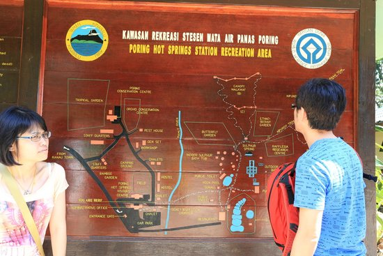 Poring Hot Springs: The directory map at the starting gate