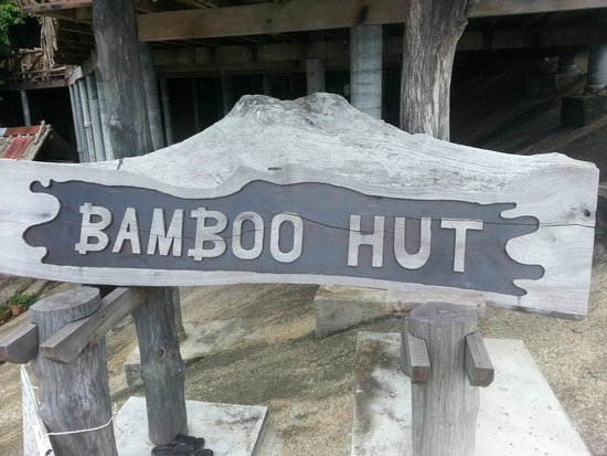 Bamboo Hut: The sign perched halfway up the climb!