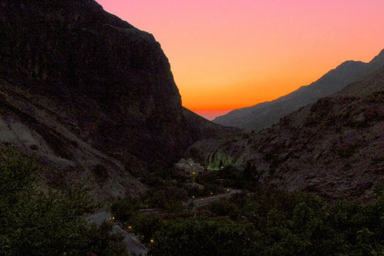 Ma'In Hot Springs : Sunset from the restaurant balcony