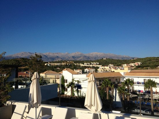 Almyrida Residence: Whire Mountains from roof terrace