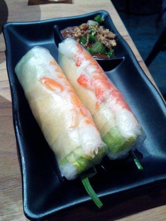 Nam Nam Noodle Bar: Fresh southern rolls with prawn, fresh herbs, peanut sauce