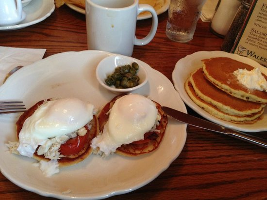 Walker Bros. Original Pancake House: Eggs benedict with crabmeat.  Good, but their pancakes and waffles are better.
