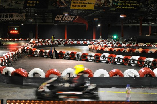 Clydebank, UK: Huge indoor track with a long straight, sweeping turns, hairpins, bridge and tunnel