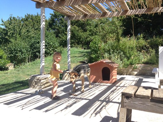 Agriturismo Caresto: Evelyn playing with Paco on the terasse