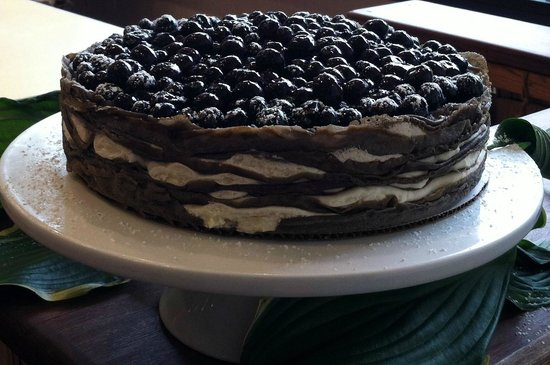 Yo'R So Sweet: Black and White crepe cake: Espresso crepes with white chocolate and blueberries